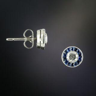 Vintage Style Diamond and Sapphire Halo Stud Earrings - 2