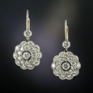 Vintage Style Diamond Cluster Drop Earrings - 2