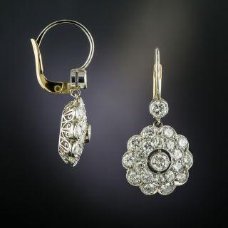 Vintage Style Diamond Cluster Drop Earrings