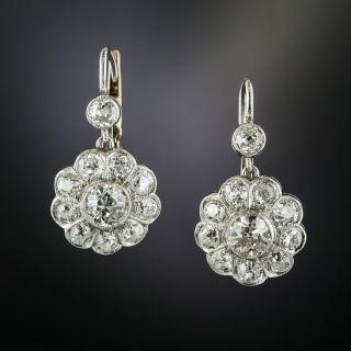 Vintage Style Diamond Cluster Drop Earringss - 2