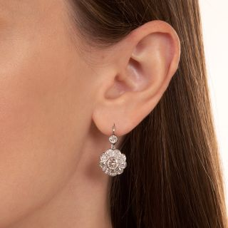 Vintage Style Diamond Cluster Drop Earringss