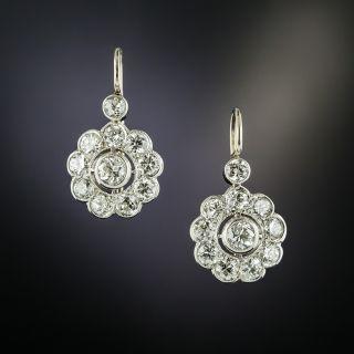 Vintage Style Diamond Cluster Earrings - 2
