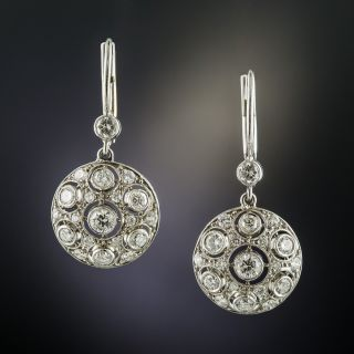 Vintage Style Diamond Drop Earrings - 2