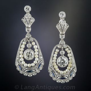 Vintage Style Diamond, Pearl and Sapphire Drop Earrings
