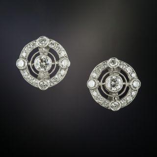 Vintage Style Diamond Stud Earrings - 3