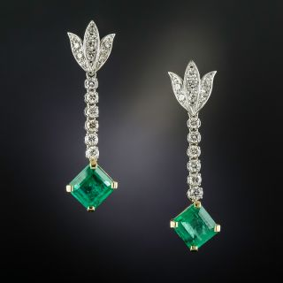 Vintage Style Emerald and Diamond Drop Earrings - 1