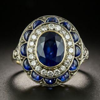 Vintage Style No-Heat 1.75 Carat Sapphire and Diamond Ring - 2