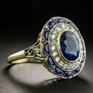 Vintage Style No-Heat 1.75 Carat Sapphire and Diamond Ring