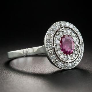 Vintage Style No-Heat Ruby Platinum and Diamond Ring