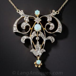 Vintage Style Opal and Diamond Pendant - 1
