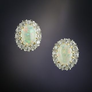Vintage Style Opal Cabochon and Diamond Cluster Earrings - 2
