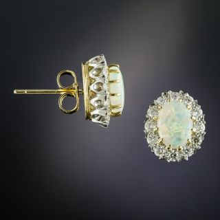Vintage Style Opal Cabochon and Diamond Cluster Earrings