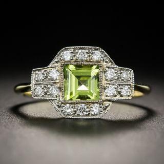 Vintage Style Peridot and Diamond Ring - 1