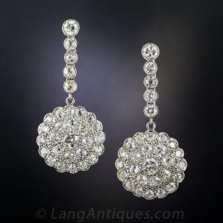 Vintage Style Platinum and Diamond Drop Earrings - 2