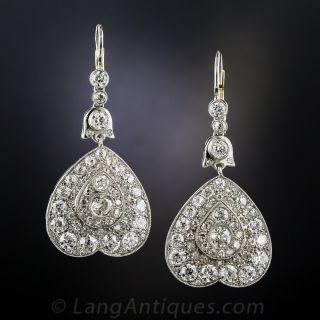 Vintage Style Platinum Diamond Dangle Earrings - 1