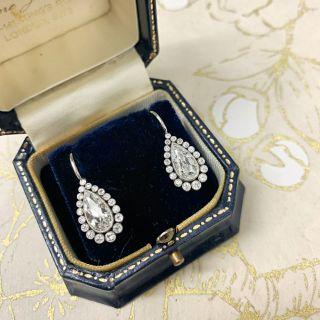 Vintage Style Pear-Shaped Diamond Drop Earrings