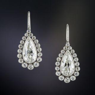Vintage Style Pear-Shaped Diamond Drop Earrings - 4