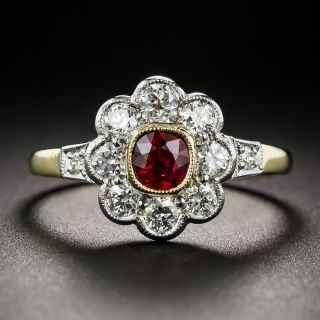 Vintage Style Ruby and Diamond Cluster Ring  - 1