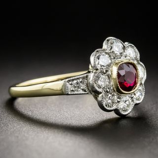 Vintage Style Ruby and Diamond Cluster Ring