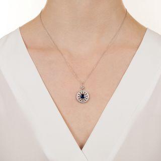 Vintage Style Sapphire and Diamond Pendant