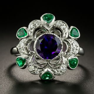 Vintage Suffragette Inspired Amethyst, Emerald and Diamond Ring - 1