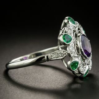 Vintage Suffragette Inspired Amethyst, Emerald and Diamond Ring