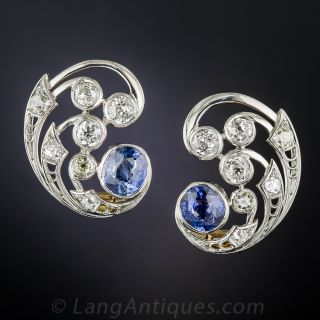 Vintage Diamond and Sapphire Swirl Earrings - 2