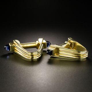 Vintage Synthetic Sapphire Stirrup Cufflinks