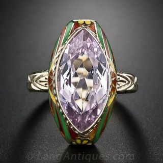 Vintage Synthetic Spinel Enamel Ring
