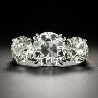 Vintage Three-Stone 4.59 Carat Total Weight Diamond Engagement Ring - GIA - 2