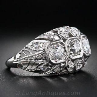 Vintage Three-Stone Diamond Ring in Platinum