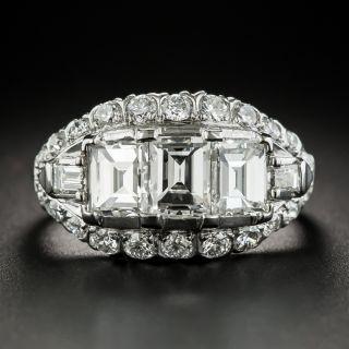 Vintage Three-Stone Emerald-Cut Diamond Platinum Engagement Ring - 2