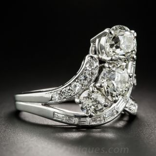 Vintage Three-Stone Platinum Diamond Ring