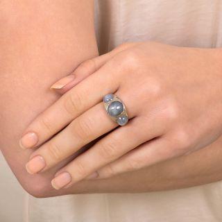 Vintage Three-Stone Star Sapphire Ring By Walton & Co.