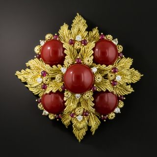 Vintage Tiffany & Co. Coral, Diamond and Ruby Brooch - 2