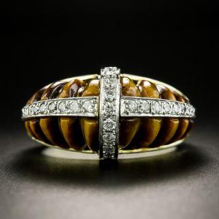 Vintage Tiger's Eye and Diamond Ring - 2