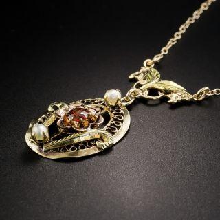 Vintage Tri-Color Gold Garnet Pearl Pendant Necklace