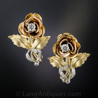 Vintage Tricolor Gold and Diamond Rose Earrings - 1