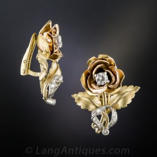Vintage Tricolor Gold and Diamond Rose Clip Earrings