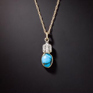 Vintage Turquoise and Diamond Pendant - 2