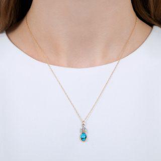 Vintage Turquoise and Diamond Pendant