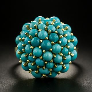 Vintage Turquoise Cluster Ring  - 2