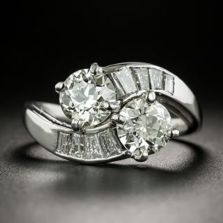 Vintage Twin Diamond Bypass Ring - GIA - 2