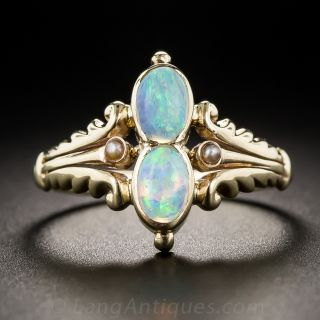 Vintage Twin Opal Ring - 2