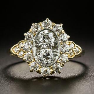 Vintage Twin-Stone Diamond Halo Ring - 2