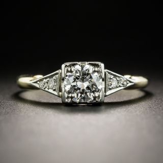 Vintage Two-Tone .52 Carat Diamond Engagement Ring - 2