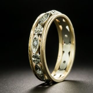 Vintage Two-Tone Diamond Wedding Band - Size 7 1/4 - 2