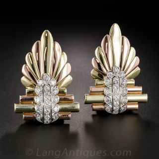 Vintage Two-Tone Gold and Platinum Diamond Clips/Brooch