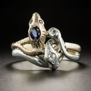 Vintage Two-Tone Sapphire and Diamond Twin Snake Ring