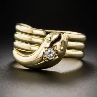 Vintage Unisex 18K Diamond Snake Ring - Size 9 1/4 - 1